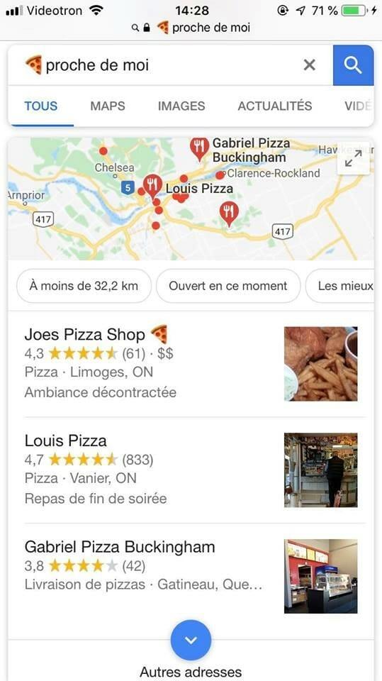 Exemple des résultats possible lorsque vous cherchez quelque chose sur Google en utilisant un emoji avec « proche de moi ».