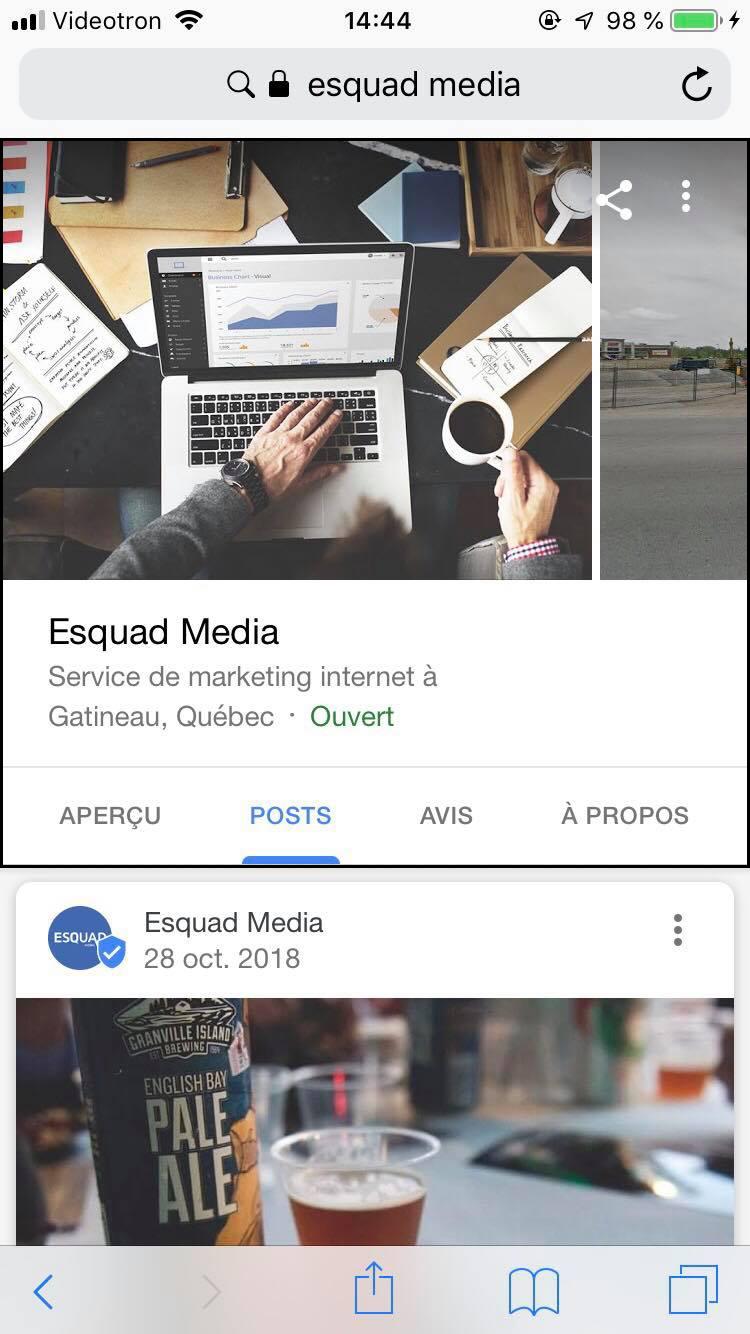 Exemple d'un post sur une fiche GME.