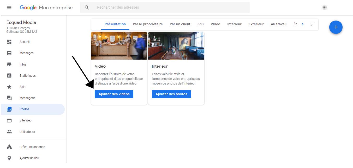 Exemple d'où cliquer pour ajouter une vidéo à partir du bouton « Ajouter des vidéos ».