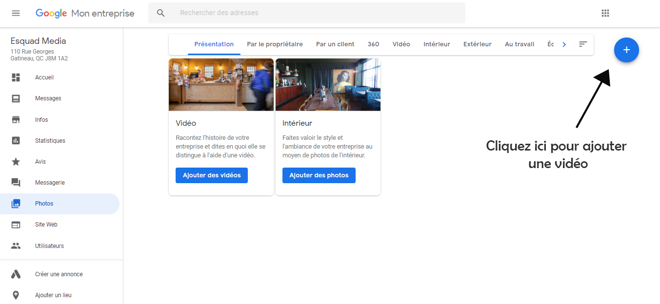Exemple d'où cliquer pour ajouter une vidéo à partir du bouton « + » dans le coin en haut de page à droite.