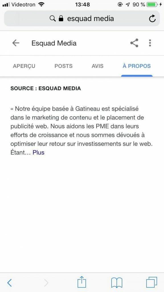 Exemple montrant où se trouve la description de votre entreprise sur votre fiche GME à partir d'un mobile.