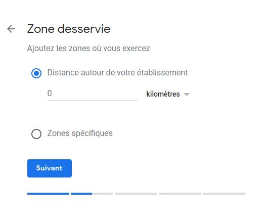 Exemple de la cinquième étape lors de la création d'une fiche Google mon entreprise, soit choisir la/les zone(s) que votre entreprise desserve.