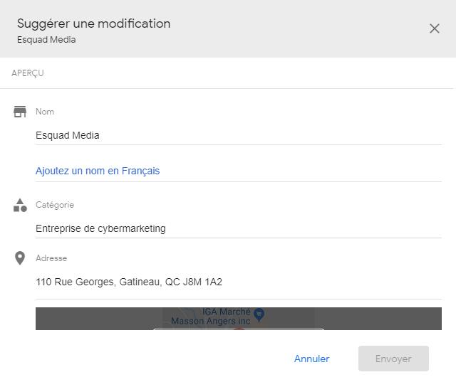 Exemple de la page « Suggèrer une modifcation ».