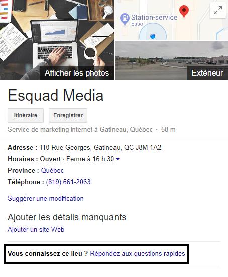 Exemple d'une fiche GME complète avec « Vous conaissez ce lieu? Répondez aux questions rapides » encadré.