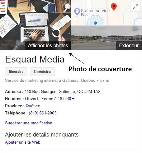 Exemple montrant où se trouve la photo de couverture sur vote fiche GME.