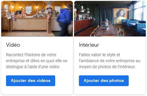 Exemple montrant la section où vous pouvez ajouter des vidéos et des photos de l'intérieur de votre entreprise.